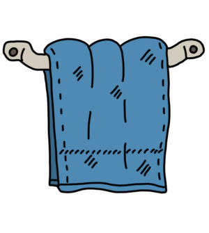 How to Doodle Towel hanging on a rack